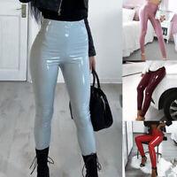 Ladies Leather PU Wet Look Trousers High Waist Skinny Leggings Casual Pants New