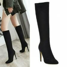 Women's Suede Stiletto Mid-Calf Knee High Boots Pointy Toe Shoes Pumps Occident