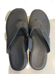Cole Haan Leather Thong Flip Flop Black Sandal Shoes Mens Size 10 M NWOT