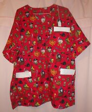 Pirate Icons on Red Scrubs Top with 3 Pockets for Size 3X  FSMTP49