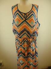 NWT Womens sz 24 Luxology Long Maxi Dress Sleeveless Print w/ Belt Orange Blue