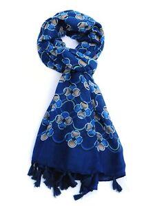 Clove Print Blue Womens Fashion Scarf with Tassels