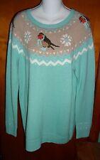 New Talbots Mint Green Bird Fair Isle Sweater PXL Petite X-Large