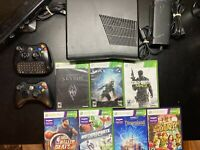 Microsoft Xbox 360 S Slim Black Console w/ Kinect and 7 Games Bundle Lot
