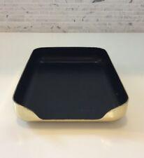 Vintage Mid Century Desk Tray Brass Gold Black Office Organizer Box Trinket Dish