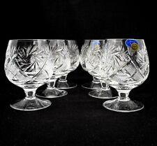 Set of 6 Russian Cut Crystal Snifter Glasses 5 oz - USSR Soviet Cognac Goblet