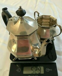 Antique Sterling Silver Teapot Sugar Bowl MAPPIN & WEBB 529 grams