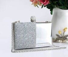 Women's Shiny Patent Diamante Crystal Evening Clutch Purse Shoulder Bag Handbag