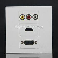 Wall Face Plate 3RCA AV + HDMI + VGA Coax Coaxial Assorted Panel Faceplate Outle