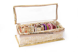 Indian Quilted Brocade Fabric Precious Bangle Jewellery Storage Box 1 Section