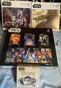 Star Wars TRILOGY POSTERS 4 in 1 Jigsaw,The Mandalorian 500 And 1000 Piece,cards
