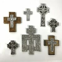 Silver Pewter Wood Wall Crosses - Lot of 7 - Religious Christianity Mexico