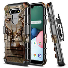 For LG Phoenix 5 Holster Case Armor Belt Clip Built-In Kickstand Phone Cover
