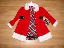 2 pc Girls Christmas Sleeveless Plaid Dress & Plush Fur Santa Jacket Coat-2T