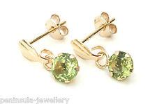 9ct Gold Peridot drop Earrings Made in UK Gift Boxed