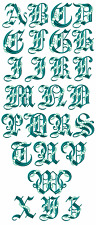 "ABC Designs Seafoam Gothic Font Machine Embroidery Designs 5""x7"" Hoop"