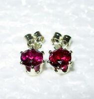 RASPBERRY RED RHODOLITE GARNET 5MM ROUND 100% NATURAL STUD EARRINGS SS