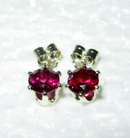 RASPBERRY RED RHODOLITE GARNET 4MM ROUND STUD EARRINGS 100% NATURAL STERLING