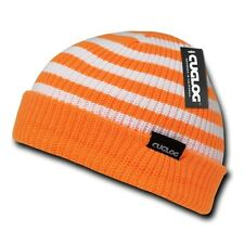 Orange White Knit Warm Winter Skull Ski Sailor Cuff Beanie Beanies Cap Hat Hats