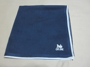"""USED NAVY BLUE HORSE CARRIAGE PATTERN COTTON 18"""" POCKET SQUARE HANDKERCHIEF  MEN"""