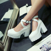 Womens Platform Ankle Strap High Heels Chunky Ladies Mary Jane Pumps Shoes New
