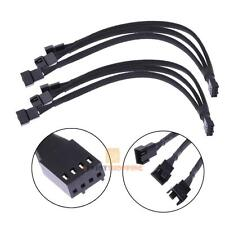 2pcs 4 pin1 PWM Fan Cable to 3 ways Y Splitter Sleeved Extension Cable Black