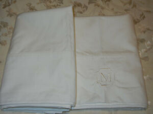 Pottery Barn  Standard Sham - White - Set Of 2 - 1 is Monogrammed *M*  NWOT !!