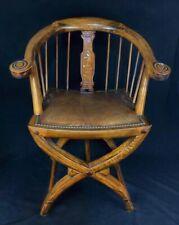 Empire Windsor stile antico in Rovere Sedia Da Scrivania Poltrona con madreperla Inset