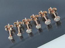 Set 3 Paar Zirkonia Ohrstecker 925 Silber Rose Gold Vergoldet 3+3,5+4 Ohrringe