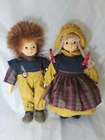 "Kein Spielzeug German Dolls Set of 2 Puppen Fur 10"" Tall"