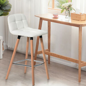 2PCS Industrial Bar Stools Chairs Kitchen Breakfast with Footrest PU Leather