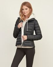 New Abercrombie Womens Down Series Lightweight Puffer Jacket Coat Grey Size L