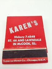 Karen's Cocktail Lounge Matchbook Matches front strike red Mccook Ill Unstruck