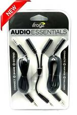 New iFrogz Audio Essentials Kit Y-Splitter, Extension & Connector Cable in Black