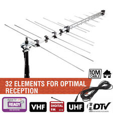 Digital TV Aerial 32 Element Gain Antenna Freeview HD Outdoor UHF VHF 10m Cable