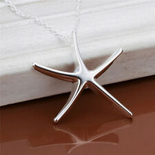 Silver Plated Starfish Pendant Necklace Jewelry Statement Chain Necklace Gift MF