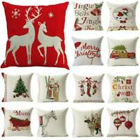 """18"""" Christmas Series Cushion Cover Santa Claus Pattern Throw Pillow Case Sofa"""