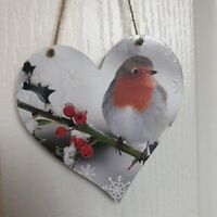 Handmade Decoupaged large wooden hanging heart Robin Christmas decoration 12cm