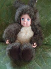 """Anne Geddes: Baby Squirrel 10"""" Doll 1998 Dark Brown Plush Bean Bag"""