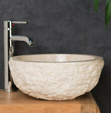 Cream Stone Sink. Rough Round Marble Basin - 40 x 15cm.