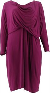 Halston Solid Cowl Neck Long Slv Dress Orchid 4 NEW A270359
