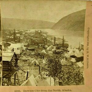 1899 Dawson City Birdseye Yukon Alaska Klondike Gold Rush Stereo Card Kilburn E2