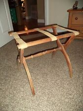 Vintage Wooden Suitcase Stand Luggage Rack Bed & Breakfast Decor Guest Room