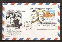 US SC # UXC19 First Transpacific Flight FDC. Artmaster Cachet