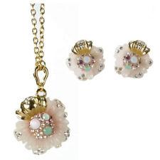 22b0b053688 parure collier boucles plaqué or cristal Swarovkski résine rose fleurs  chaine