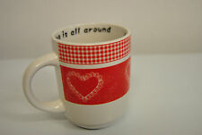 2 Tassen Kaffeetasse Kaffee- Pott Porzellan Herz Love is all around Neu rot weiß