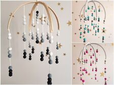 Double Arch Baby Mobile Wooden Beads Handmade Nursery Decor Boy