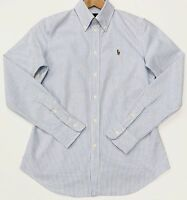 Ralph Lauren Custom Fit Striped Oxford Shirt In Light Blue Size S