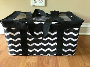 Thirty One Medium Utility tote storage Picnic beach Black Chevron - with lid