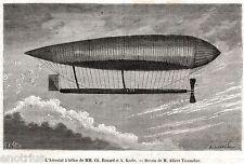 Aerostato a elica di Renard e Krebs.Dirigibile.Stampa Antica + Passepartout.1885